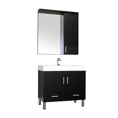 Waldwick Single Modern Bathroom Vanity Set with Mirror Base Finish: Black