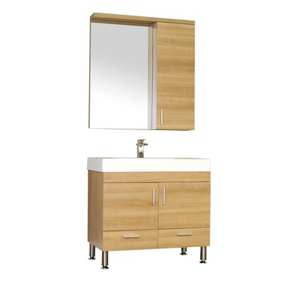 Waldwick Single Modern Bathroom Vanity Set with Mirror Base Finish: Light Oak