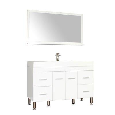 Waldwick 47 Single Modern Bathroom Vanity Set with Mirror Base Finish: White