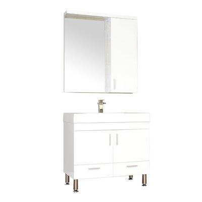 Waldwick Single Modern Bathroom Vanity Set with Mirror Base Finish: White
