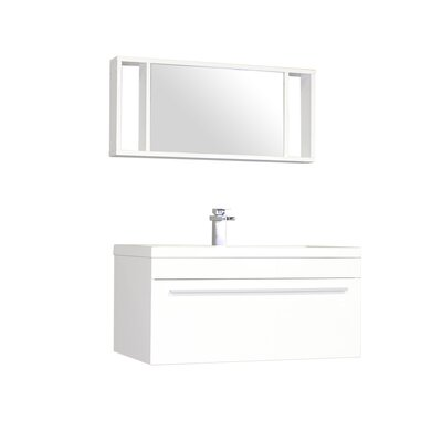 Waldwick 36 Single Wall Mount Modern Bathroom Vanity Set with Mirror Base Finish: White