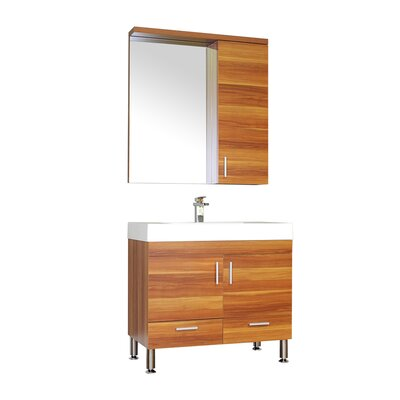 Waldwick Single Modern Bathroom Vanity Set with Mirror Base Finish: Cherry