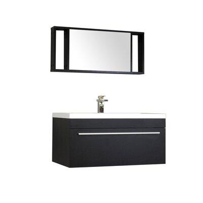 Waldwick 36 Single Wall Mount Modern Bathroom Vanity Set with Mirror Base Finish: Black