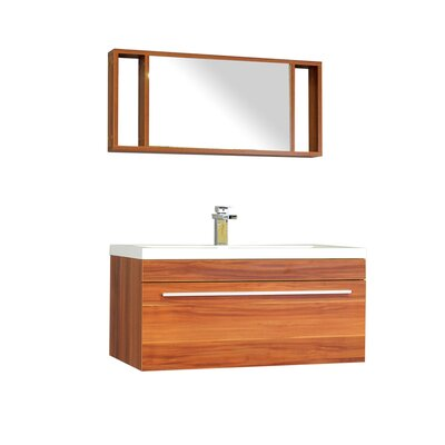 Waldwick 36 Single Wall Mount Modern Bathroom Vanity Set with Mirror Base Finish: Cherry