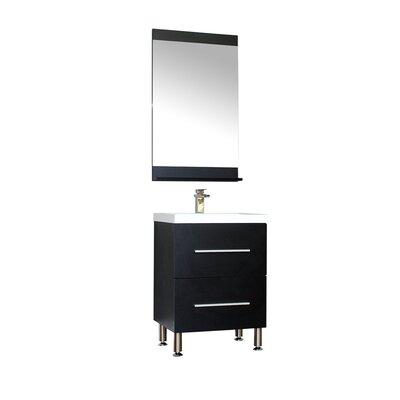 Waldwick 24 Single Modern Bathroom Vanity Set with Mirror Base Finish: Black