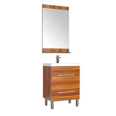 Waldwick 24 Single Modern Bathroom Vanity Set with Mirror Base Finish: Cherry