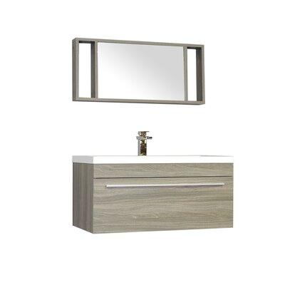Waldwick 36 Single Wall Mount Modern Bathroom Vanity Set with Mirror Base Finish: Gray