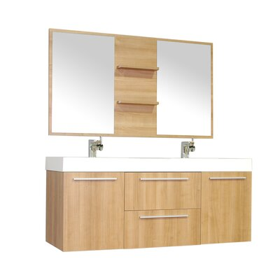Waldwick 54 Double Wall Mount Modern Bathroom Vanity Set with Mirror Base Finish: Light Oak