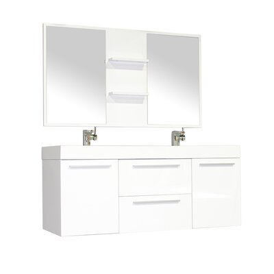 Waldwick 54 Double Wall Mount Modern Bathroom Vanity Set with Mirror Base Finish: White