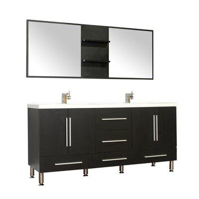 Waldwick 67 Double Modern Bathroom Vanity Set with Mirror Base Finish: Black