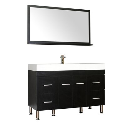 Waldwick 47 Single Modern Bathroom Vanity Set with Mirror Base Finish: Black