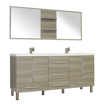 Waldwick 67 Double Modern Bathroom Vanity Set with Mirror Base Finish: Gray
