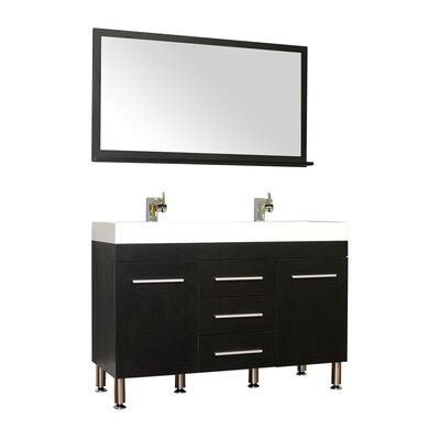 Waldwick 48 Double Modern Bathroom Vanity Set with Mirror Base Finish: Black