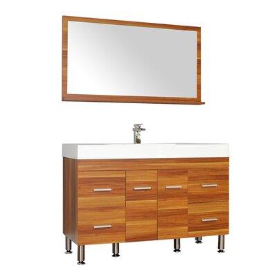 Waldwick 47 Single Modern Bathroom Vanity Set with Mirror Base Finish: Cherry