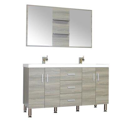 Waldwick 56 Double Modern Bathroom Vanity Set with Mirror Base Finish: Gray