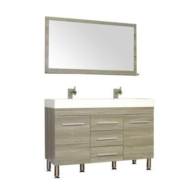 Waldwick 48 Double Modern Bathroom Vanity Set with Mirror Base Finish: Gray