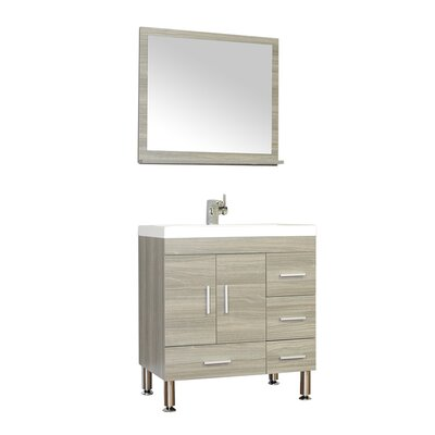 Waldwick 30 Single Modern Bathroom Vanity Set with Mirror Base Finish: Gray
