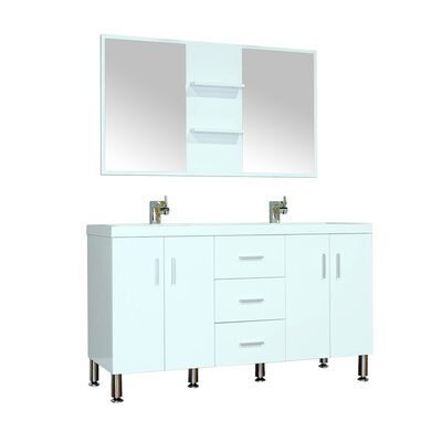 Waldwick 56 Double Modern Bathroom Vanity Set with Mirror Base Finish: White