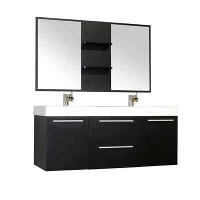 Waldwick 54 Double Wall Mount Modern Bathroom Vanity Set with Mirror Base Finish: Black