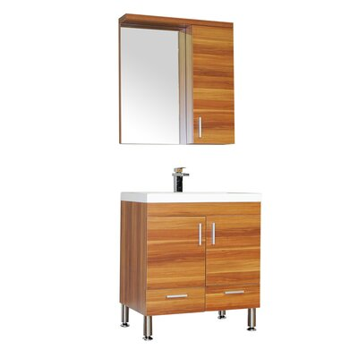 Waldwick 30 Single Modern Bathroom Vanity Set with Mirror Base Finish: Cherry
