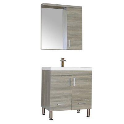 Waldwick 30 Single Modern Bathroom Vanity Set with Mirror Base Finish: Gray