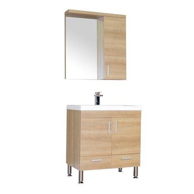 Waldwick 30 Single Modern Bathroom Vanity Set with Mirror Base Finish: Light Oak