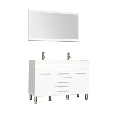 Waldwick 48 Double Modern Bathroom Vanity Set with Mirror Base Finish: White