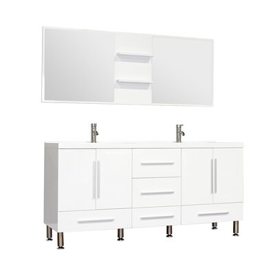Waldwick 67 Double Modern Bathroom Vanity Set with Mirror Base Finish: White