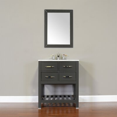 Manhattan 30 Single Contemporary Bathroom Vanity Set with Mirror Top Finish: Beige, Base Finish: White