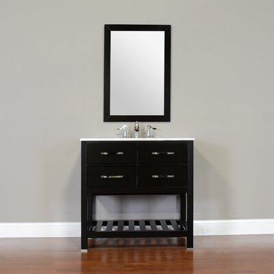 Manhattan 36 Single Contemporary Bathroom Vanity Set with Mirror Top Finish: Beige, Base Finish: White
