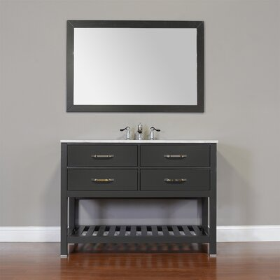Manhattan 48 Single Contemporary Bathroom Vanity Set with Mirror Top Finish: Beige, Base Finish: Gray