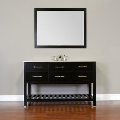 Manhattan 56 Single Contemporary Bathroom Vanity Set with Mirror Base Finish: Espresso, Top Finish: White