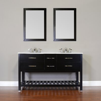 Manhattan 60 Double Contemporary Bathroom Vanity Set with Mirror Top Finish: Beige, Base Finish: White