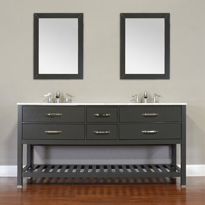 Manhattan 72 Double Contemporary Bathroom Vanity Set with Mirror Base Finish: White, Top Finish: White