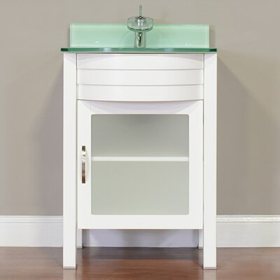 Elite 24 Single Modern Bathroom Vanity Set Base Finish: White, Top Finish: Light Green
