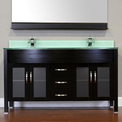 Elite 60 Double Modern Bathroom Vanity Set Base Finish: Espresso, Top Finish: Light Green