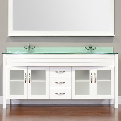 Elite 72 Double Modern Bathroom Vanity Set Base Finish: White, Top Finish: White