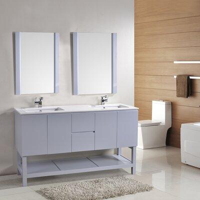 Biscayne 60 Double Bathroom Vanity Set with Mirror