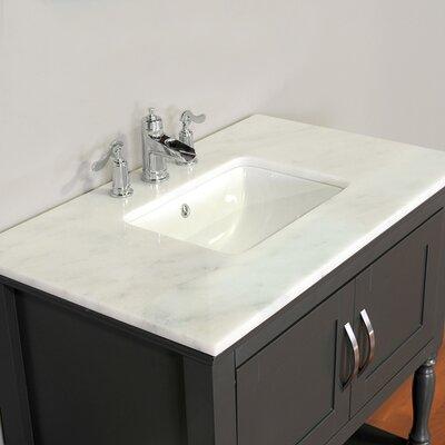 Hampton 30 Single Contemporary Bathroom Vanity Set with Mirror Top Finish: Carrera White, Base Finish: Gray