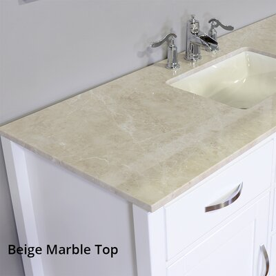 Hudson 56 Single Contemporary Bathroom Vanity Set Base Finish: White, Top Finish: Beige