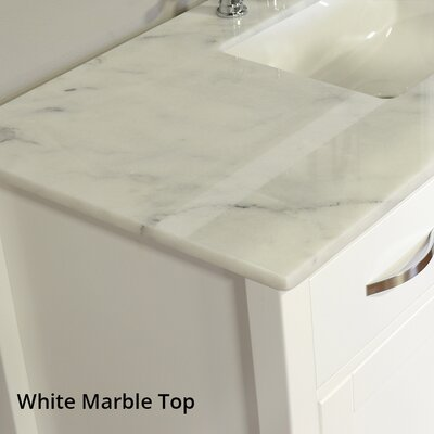 Hudson 56 Single Contemporary Bathroom Vanity Set Base Finish: White, Top Finish: Carrera White