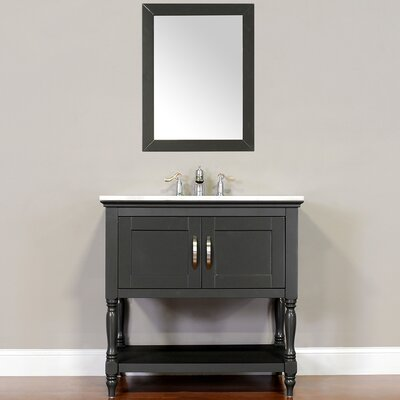 Hampton 30 Single Contemporary Bathroom Vanity Set with Mirror Top Finish: Beige, Base Finish: Gray