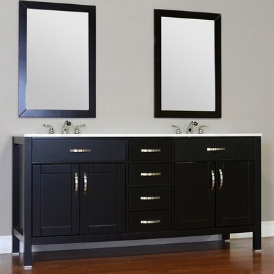 Hudson 72 Double Contemporary Bathroom Vanity Set Base Finish: Black, Top Finish: Beige