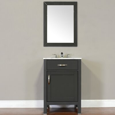 Hudson 24 Single Contemporary Bathroom Vanity Set Base Finish: Gray, Top Finish: Carrera White