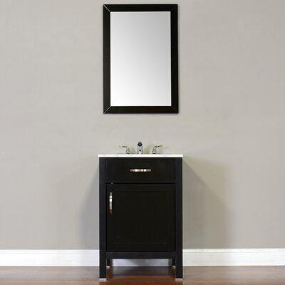 Hudson 24 Single Contemporary Bathroom Vanity Set Top Finish: Carrera White, Base Finish: Black