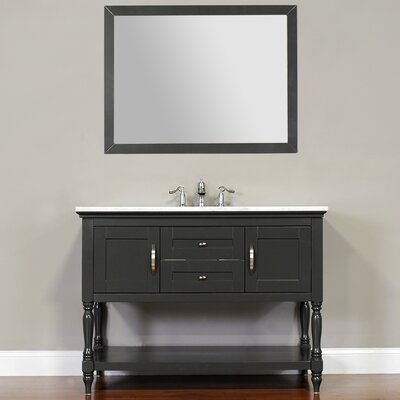 Hampton 48 Single Contemporary Bathroom Vanity Set with Mirror Base Finish: White, Top Finish: Beige