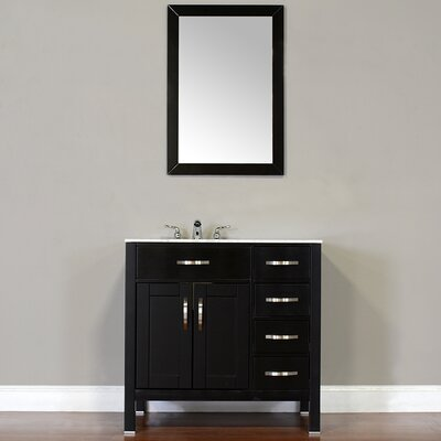 Hudson 36 Single Contemporary Bathroom Vanity Set Top Finish: Beige, Base Finish: Black