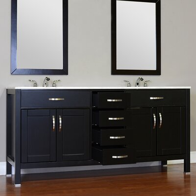 Hudson 60 Double Contemporary Bathroom Vanity Set Top Finish: Beige, Base Finish: Gray