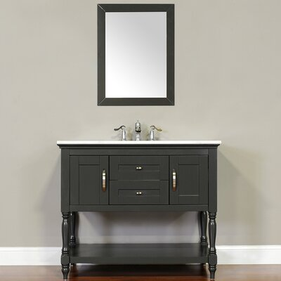 Hampton 42 Single Contemporary Bathroom Vanity Set with Mirror Top Finish: Beige, Base Finish: Gray