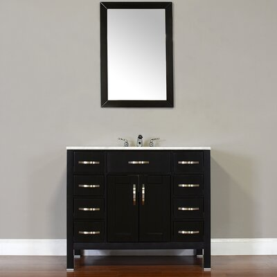 Hudson 42 Single Contemporary Bathroom Vanity Set Top Finish: Carrera White, Base Finish: Black